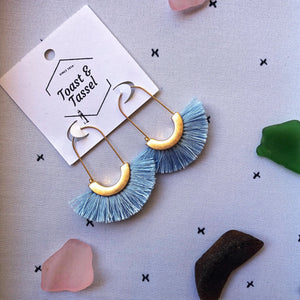 Wave- Blue Tassel Earrings trimmed in Gold