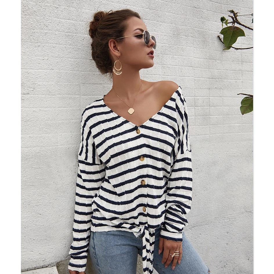Lane-V-neck Striped Button Down Shirt (S-XL)