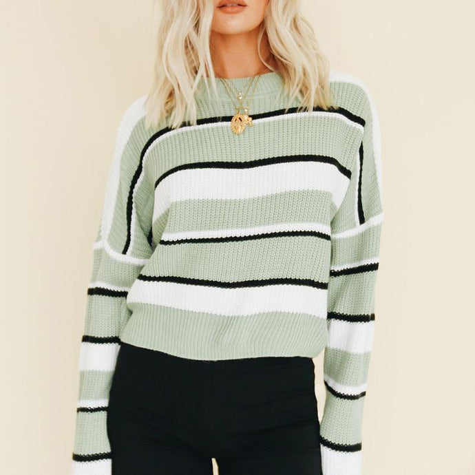Minty-Striped  Short Pullover Sweater