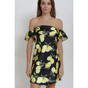 Le'mon Chello-Off the Shoulder Ruffled Dress