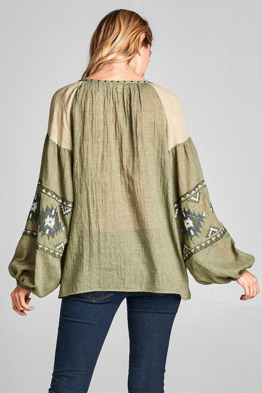Keely- Long Sleeve 100% Cotton Embroidered Top with Metal Accents