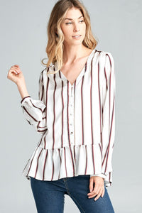 Candy- Striped Long Sleeve Swing Top