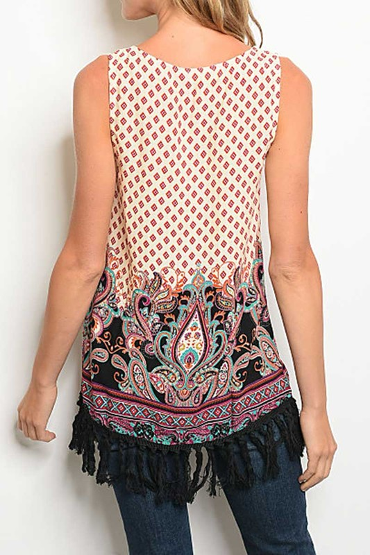 Tina- Scoop Neck Tank with Fringe Detail