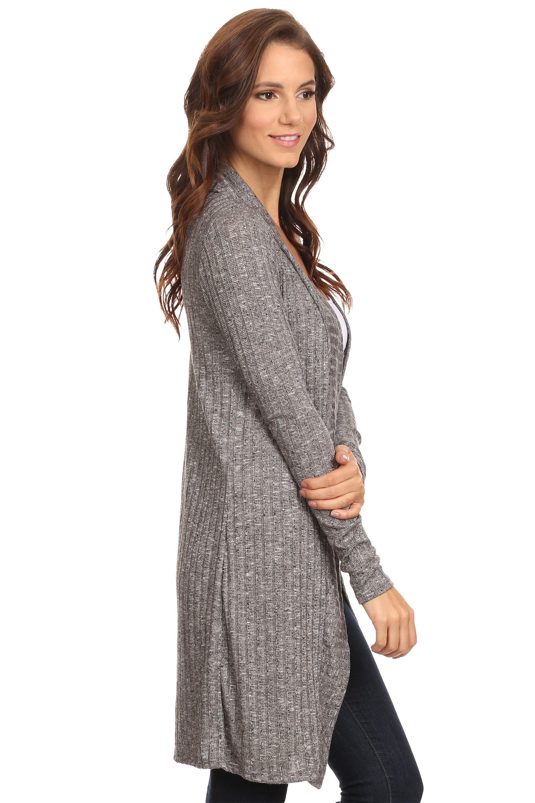 MiMi: Ribbed Long Sleeve Cardigan (XL sizes)