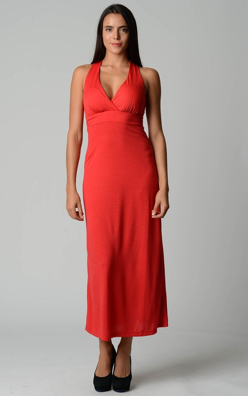 Teri-  Halter Maxi Dress with Cross Back Straps (S-XL)