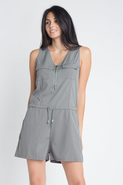 Jill- Women's t Sleeveless Zip Up Romper