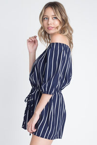 Willow-Off Shoulder Stripe Romper