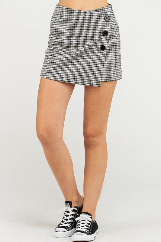 Sharon-Plaid Skort w/Trendy Buttons