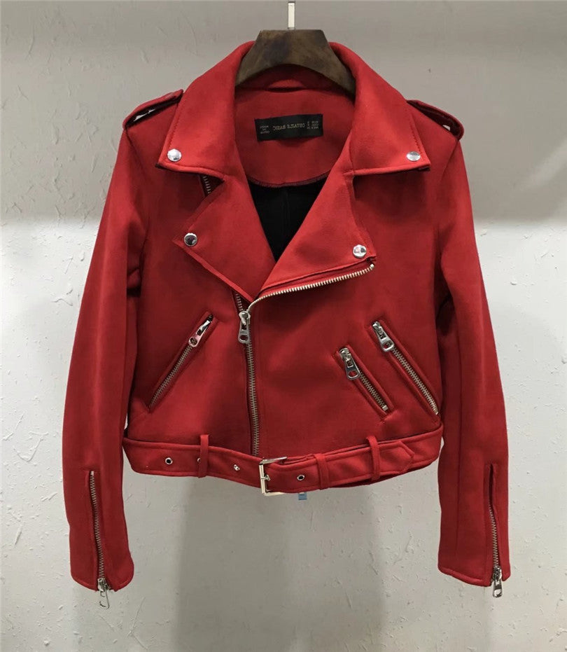 Elsey-Red or Pastel Blue Motorcycle Jacket (S-XL)