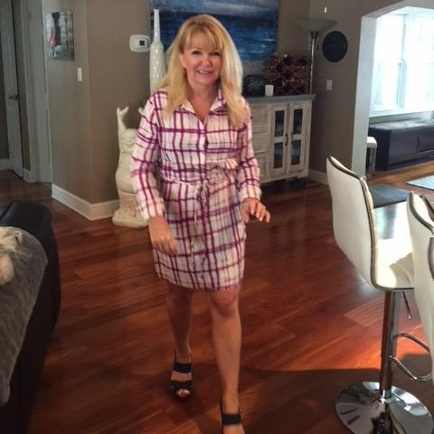 Patty-Magenta Plaid Shirt Dress