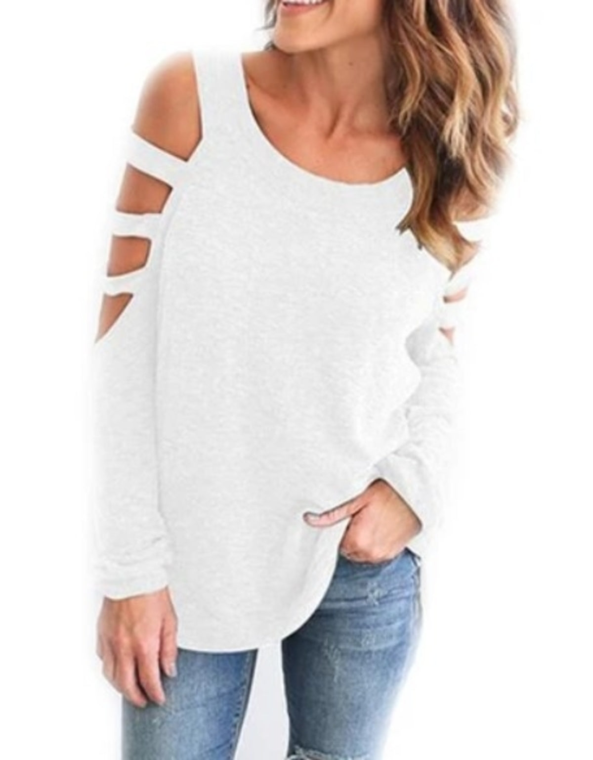 Olivia- Open Shoulder Long Sleeve Casual Top