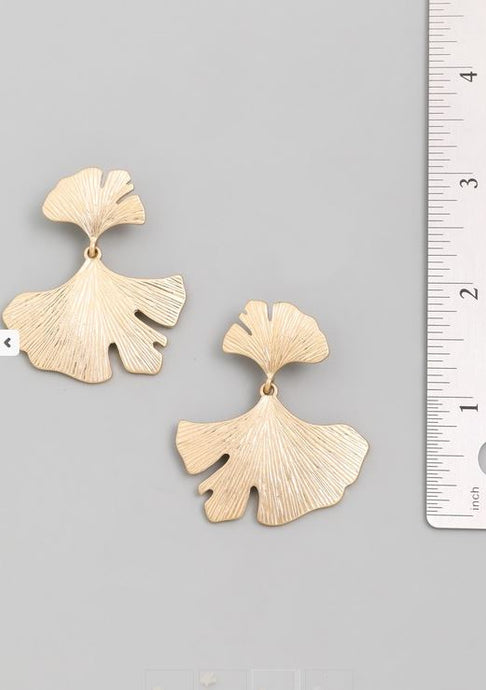 Ginkgo- Gold Statement Earrings