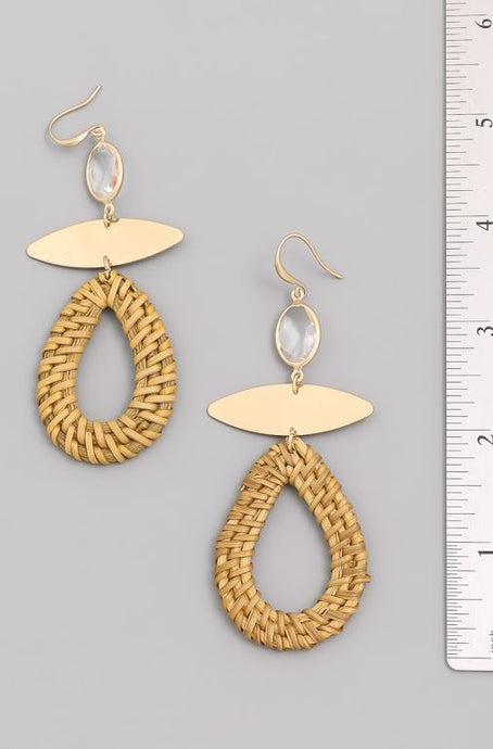 Aiden-Straw Oval Hoop Drop Earrings