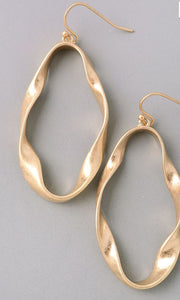 Celeste-Dangly Hoop Matte Gold Earrings