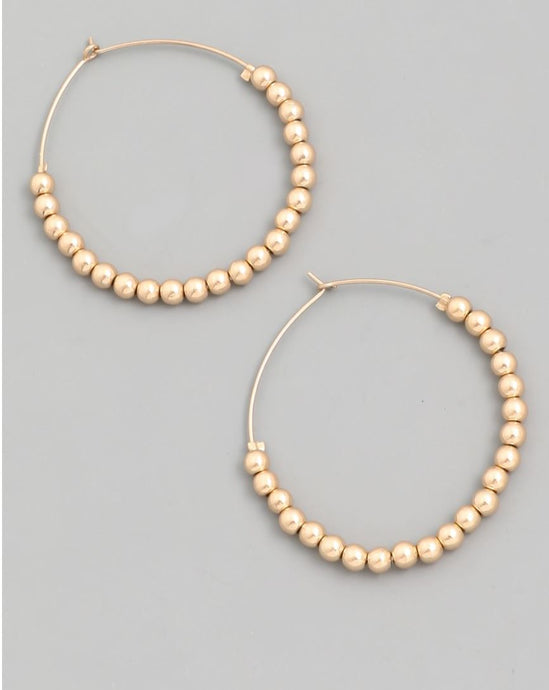 Karla-Beaded Gold Hoop Earrings