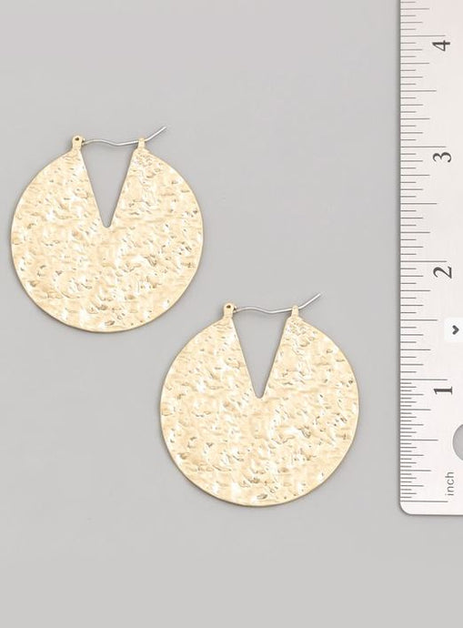 Sadie-Sliver and Gold Textured Disc Earrings