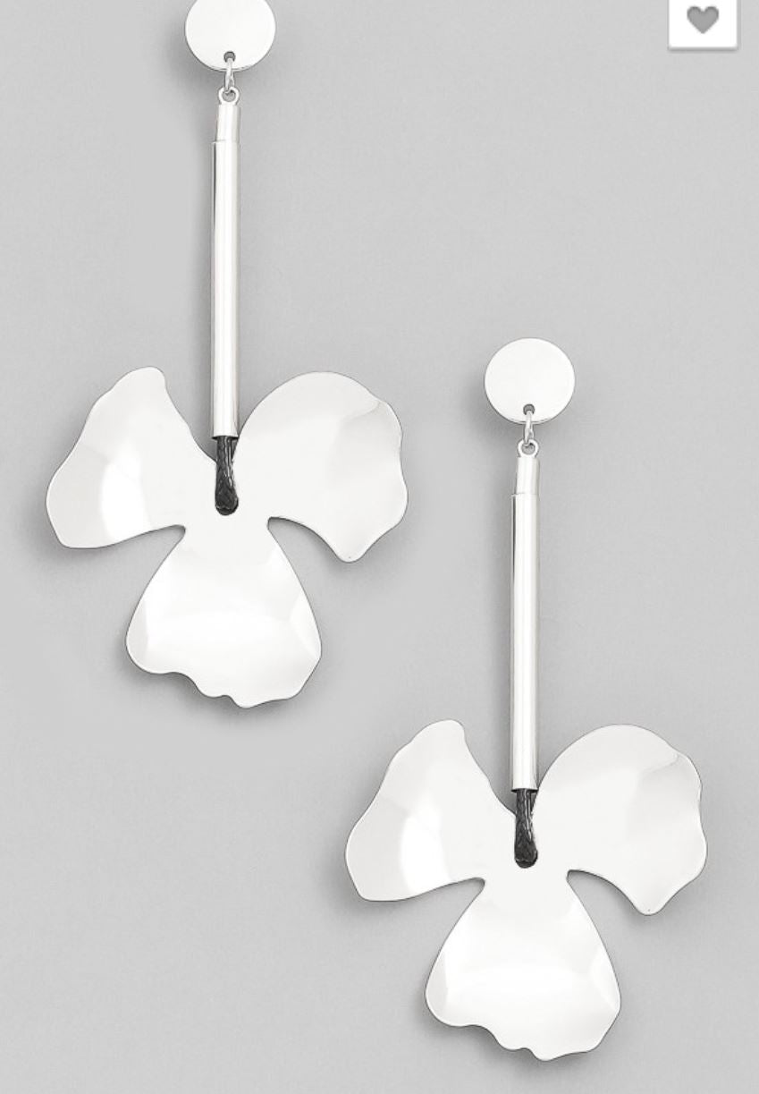 Acacia- Silver Statement Flower Earrings