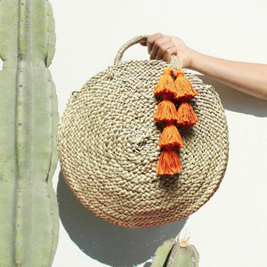 Brunna - Round Straw Tote Bag with Tassels