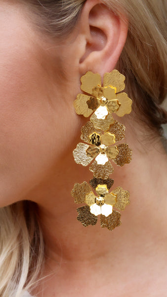 Golden Triple Flower Earrings