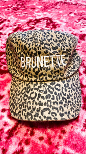 Brunette Leopard Distressed Hat