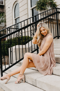 High Class Tiered Swing Dress- Taupe