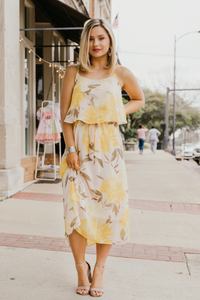 Yellow Floral Print Midi Dress