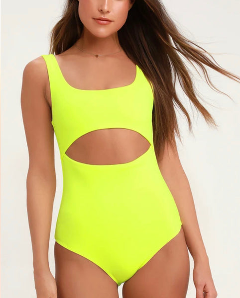 Walking on Sunshine One Piece- Electric Yellow