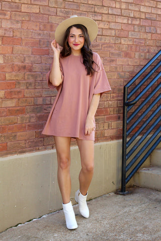Copper Distressed Boyfriend Tee