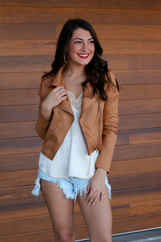 Always Dreaming Camel Suede Jacket