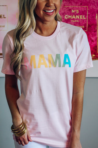 Ombre Mama Graphic Tee- Pink