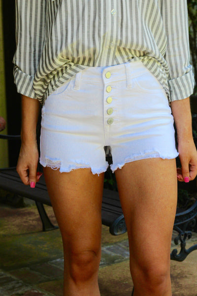 White Cutoff Button Front Shorts