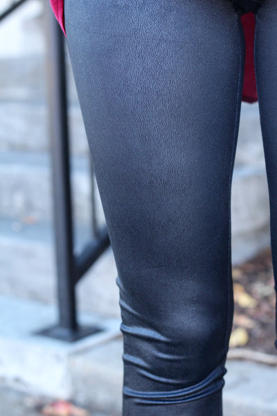 Fell For You Black Faux Leather Leggings