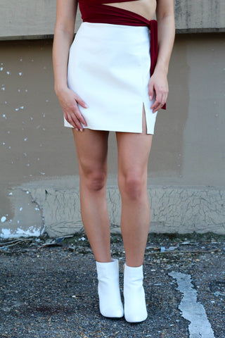 Head Held High Slit Mini Skirt- Faux White Leather