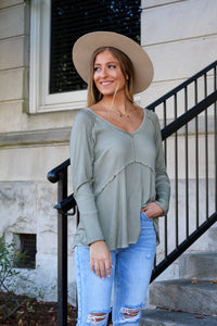 Be True To Yourself Ribbed Top- Olive