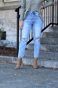 Get to the Point High Waisted Distressed Denim