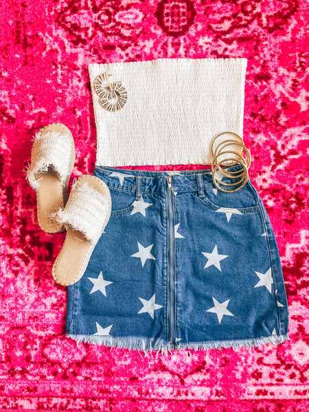 Star Denim Mini Skirt