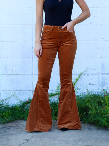 Center of Attention Corduroy Flares- Camel