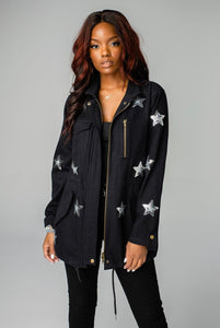 Buddy Love Alyssa Sequin Star Cargo Jacket Black