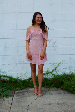 Love You Better Off Shoulder Lace Mini Dress- Blush