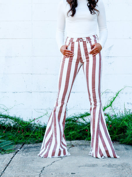 Spice Up Your Life Flares- Camel Stripe