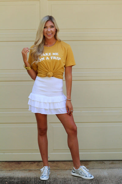 White Smocked Ruffle Skirt