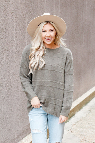 Blurred Lines Sweater- Olive