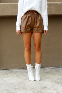 Watch Out Girl Faux Leather Shorts-Camel