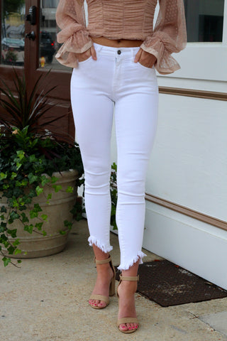 RESTOCK BEST SELLERS: Frayed Hem White Skinny Jean
