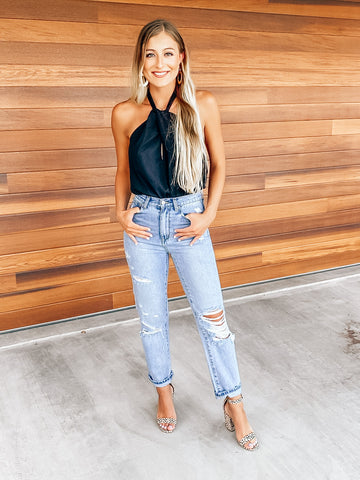 RESTOCK: Distressed High Waisted Light Wash Boyfriend Jeans