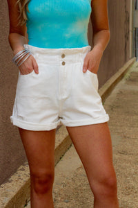 Vintage High Waisted Paperbag Shorts- White