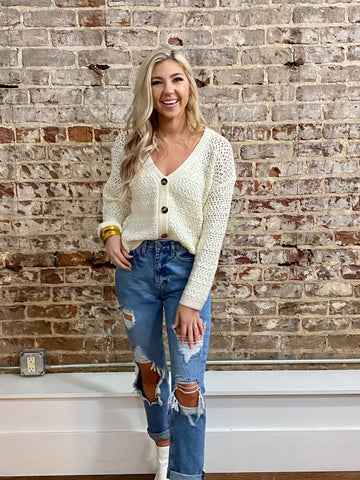 Fall Breeze Crochet Cardigan- Cream
