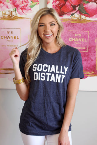 Socially Distant Tee -Navy