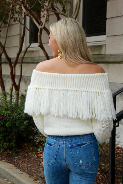 You're The One Off White Fringe Sweater