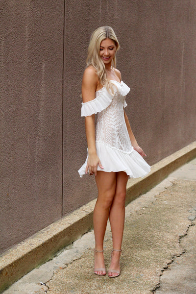 Love You Better Off Shoulder Lace Mini Dress-White